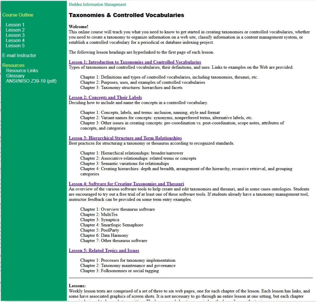 Taxonomies course screenshot