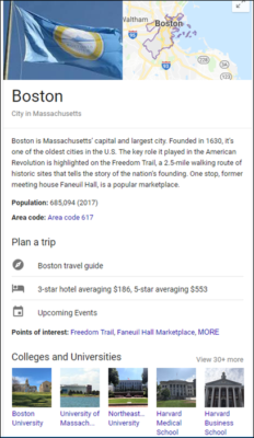 Google Knowledge Graph example
