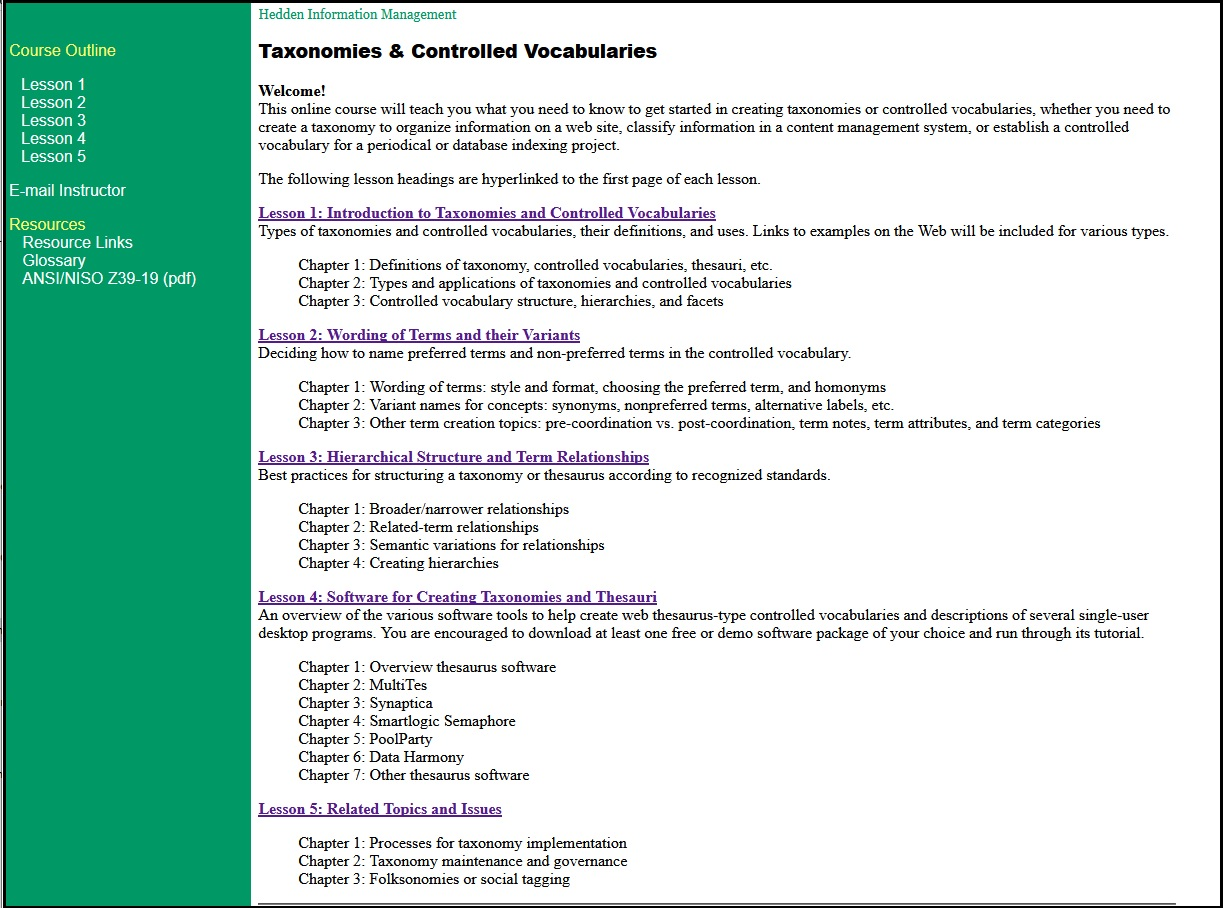 Online taxonomy course screenshot