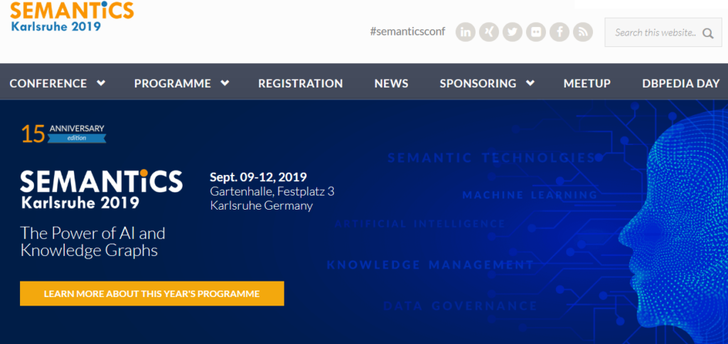 SEMANTiCS Karlsruhe 2019 conference website image
